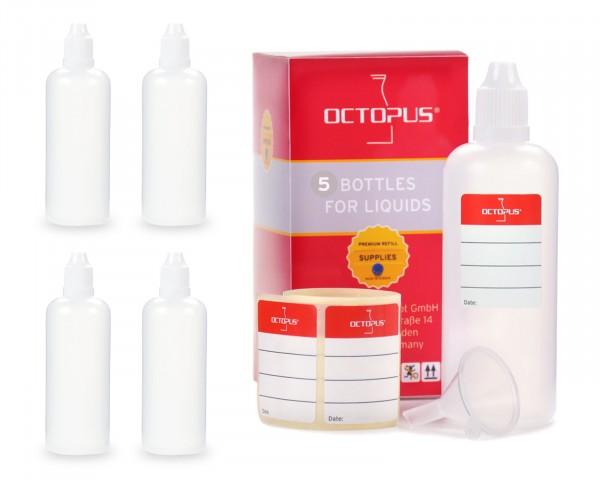 5 x 100 ml LDPE Tropfflaschen, zur Dosierung von Flüssigkeiten, mit weißen Deckeln + Trichter