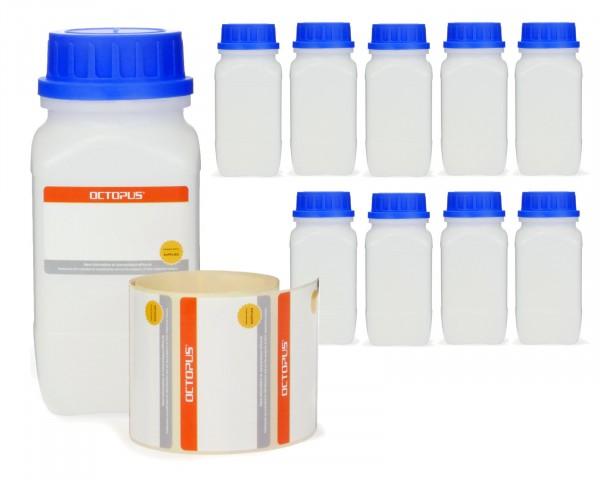 10x 500 ml Weithals-Flasche mit Schraubverschluß, Chemiekalienflasche, Laborflasche