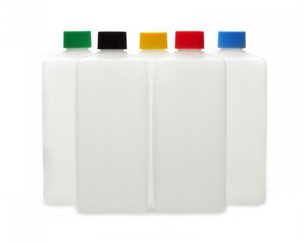 5 Plastikflaschen 500 ml eckig aus HDPE mit farbigen Schraubverschlüssen