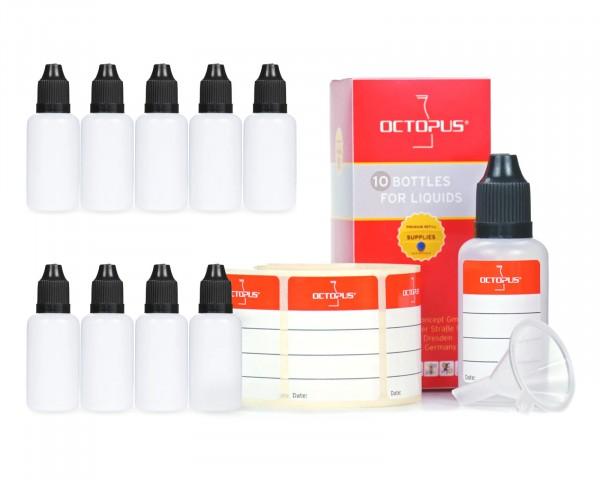 10 x 30 ml LDPE Tropfflaschen mit schwarzen Deckeln + Trichter