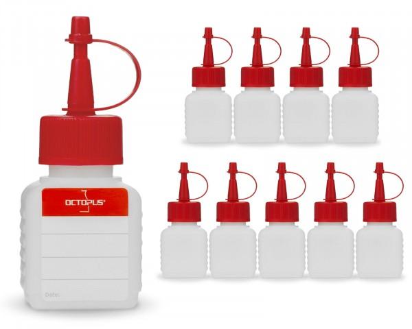 10 x 50 ml Plastikflaschen aus HDPE mit roten Spritzverschlüssen