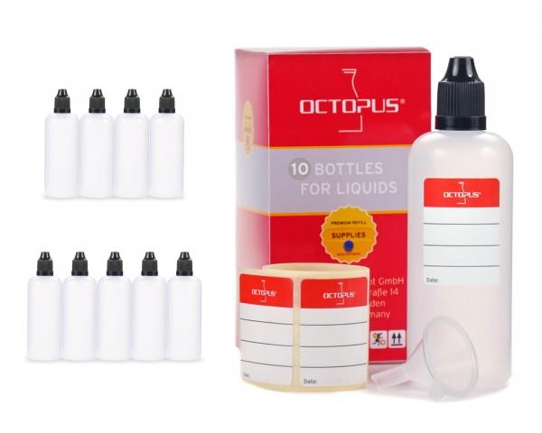 10 x 100 ml LDPE Tropfflaschen, zur Dosierung von Flüssigkeiten, mit schwarzen Deckeln + Trichter