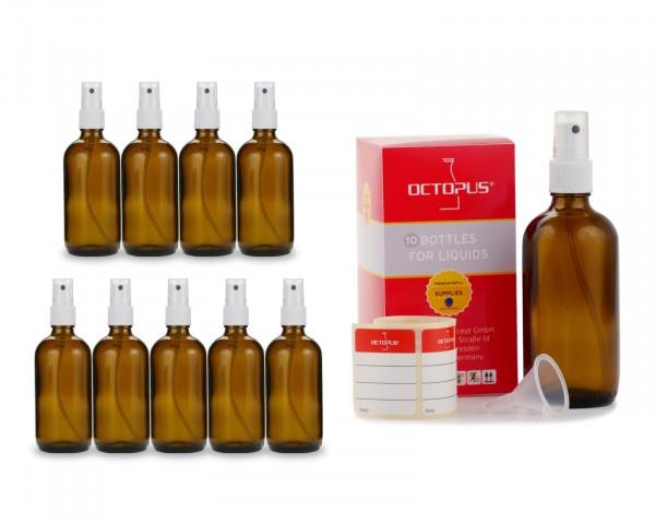 10 x 100 ml Braunglasflaschen mit Fingerzerstäuber + Trichter