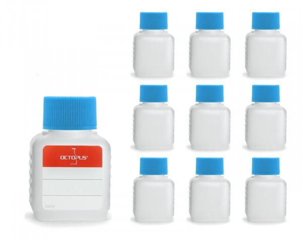 10 Plastikflaschen 50 ml mit blauen Deckeln (leer)