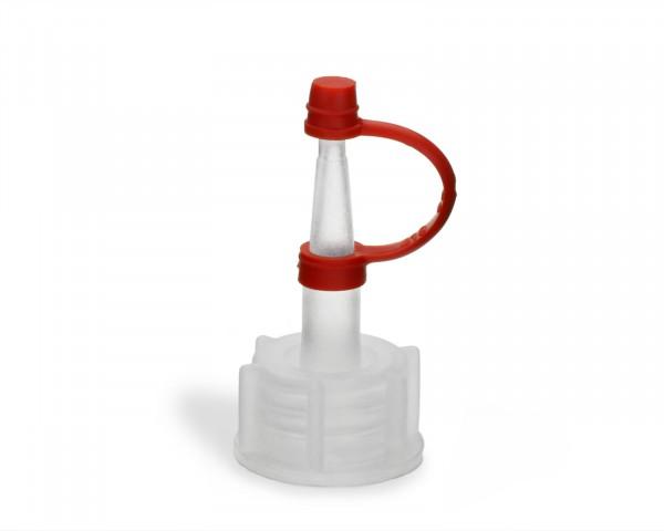 Tropfverschluss aus LDPE, natur, G18, lange Spitze, rotes Halteband und Käppchen