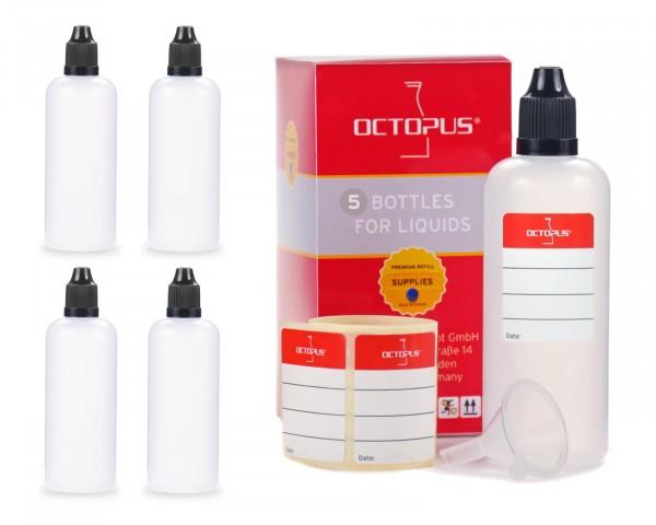 5 x 100 ml LDPE Tropfflaschen, zur Dosierung von Flüssigkeiten, mit schwarzen Deckeln + Trichter