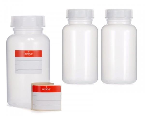 3x 500 ml Weithalsflasche mit Schraubverschluß, Chemiekalienflasche, Laborflasche