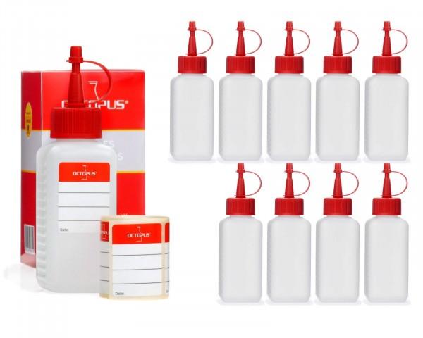 10 x 100 ml Plastikflaschen aus HDPE mit roten Spritzverschlüssen