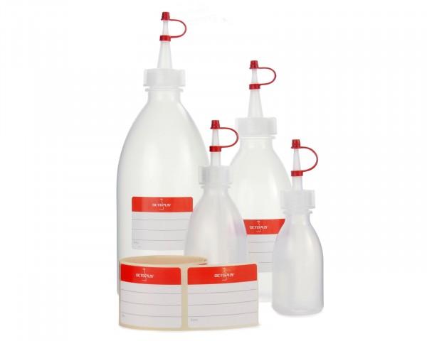 4x Quetschflaschen, Kunststoffflaschen aus LDPE mit Tropfverschluss, Garnierflaschen 50ml, 100ml, 25