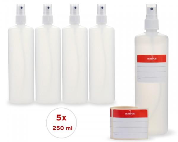 5 x 250 ml Sprühflaschen aus HDPE mit Fingerzerstäuber