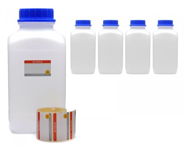 5x 4000 ml Weithals-Flaschen XXL mit Schraubverschluß, Chemiekalienflasche, Laborflasche
