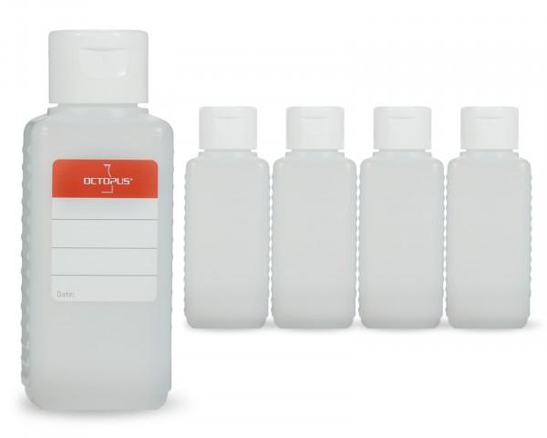 5 x 100 ml Plastikflaschen aus HDPE mit weißen Klappverschlüssen