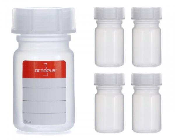 5x 50 ml Weithalsflasche mit Schraubverschluß, Chemiekalienflasche, Laborflasche
