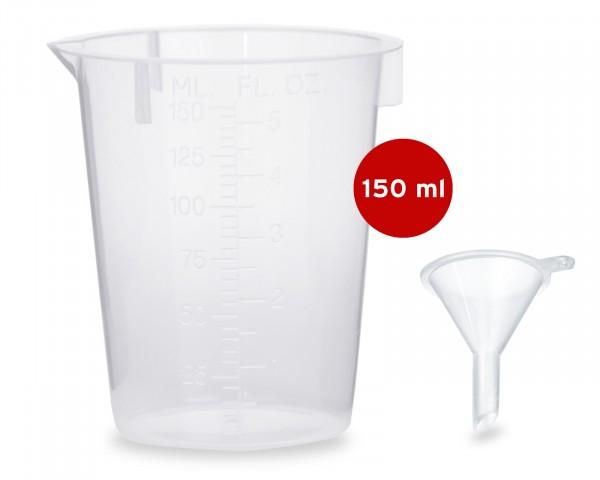 1x Messbecher 150 ml +1x Mini Trichter zum Abfüllen und Umfüllen von Flüssigkeiten