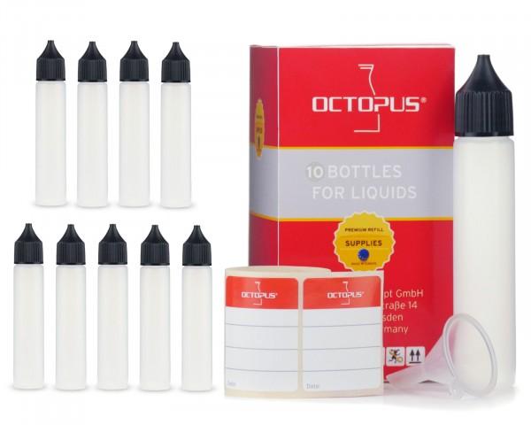 10 Plastikflaschen 30 ml länglich aus LDPE, G18, Tropfeinsatz, Deckel schwarz, 1 Mini-Trichter