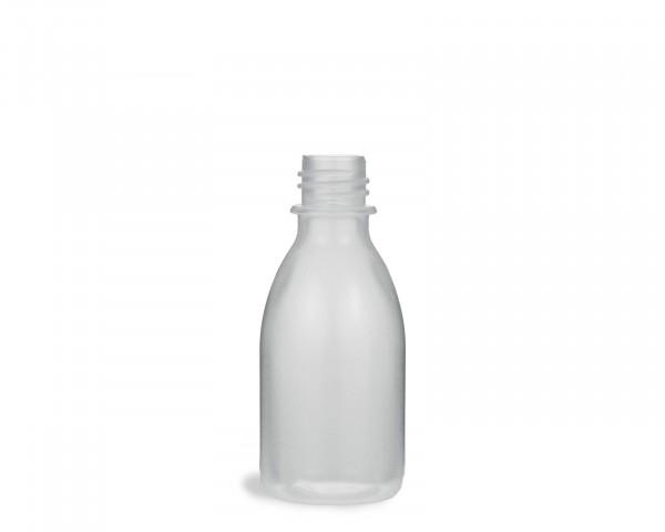 50 ml Quetschflasche aus LDPE mit 18 mm Gewinde, natur, transparent, leer, ohne Deckel