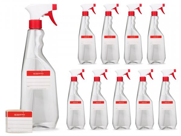 750 ml Sprühflaschen aus PET, G28, Sprühpistole rot/weiß