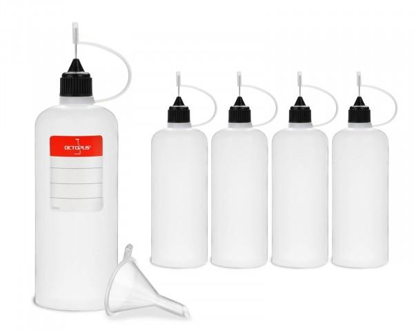 5 Plastikflaschen 100 ml aus LDPE, G14, Tropfverschluss mit Nadelkappe, Trichter