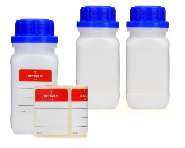 3x 100 ml Weithals-Flaschen mit Schraubverschluß, Chemiekalienflasche, Laborflasche