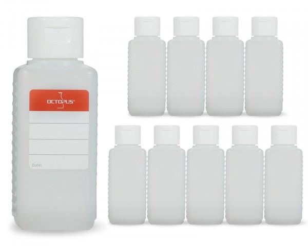 10 x 100 ml Plastikflaschen aus HDPE mit weißen Klappverschlüssen