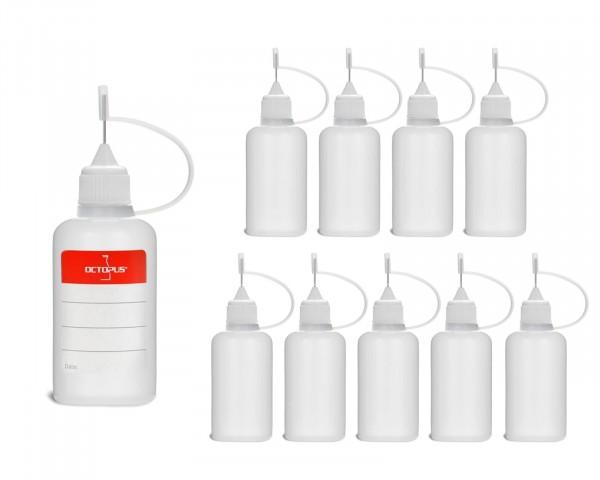 10 Plastikflaschen 30 ml aus LDPE, G14, Tropfverschluss mit Nadelkappe, weiss