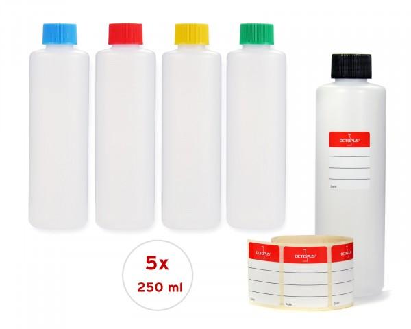 5 x 250 ml runde Plastikflaschen aus HDPE mit bunten Schraubverschlüssen