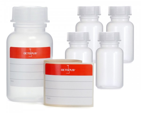 5x 100 ml Weithalsflasche mit Schraubverschluß, Chemiekalienflasche, Laborflasche