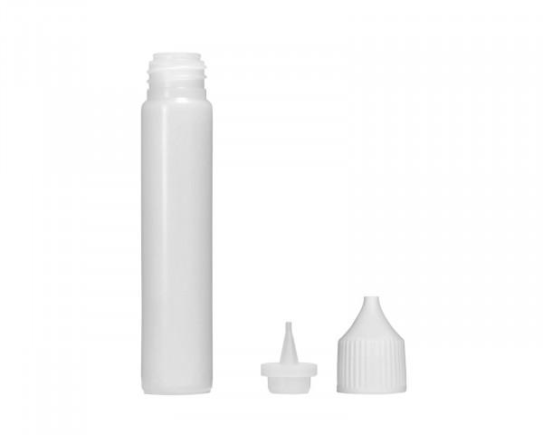 30 ml Plastikflasche mit Tropfeinsatz und weißem Verschluss