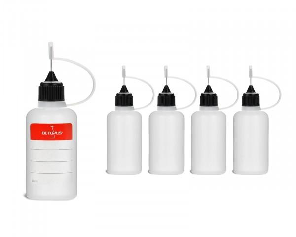5 Plastikflaschen 30 ml aus LDPE, G14, Tropfverschluss mit Nadelkappe, schwarz