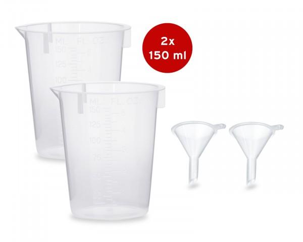 2x Messbecher 150 ml + 2x Mini Trichter zum Abfüllen und Umfüllen von Flüssigkeiten wie Tinten, E-Li
