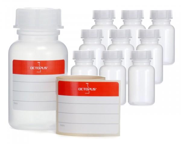10x 100 ml Weithalsflasche mit Schraubverschluß, Chemiekalienflasche, Laborflasche