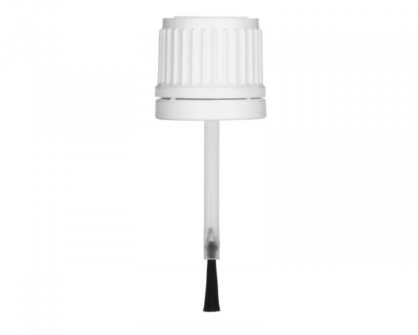 Pinselverschluss aus PE, weiß, G18, Originalitätssicherung, 55 mm Länge für 10 ml Braunglasflaschen