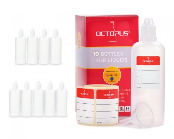 10 x 100 ml LDPE Tropfflaschen, zur Dosierung von Flüssigkeiten, mit weißen Deckeln + Trichter