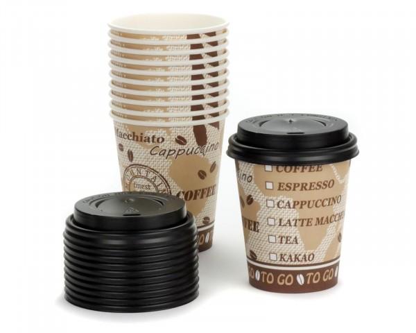 75x Trinkbecher, Coffee to go Pappbecher, Kaffeebecher mit 200 ml Füllvolumen