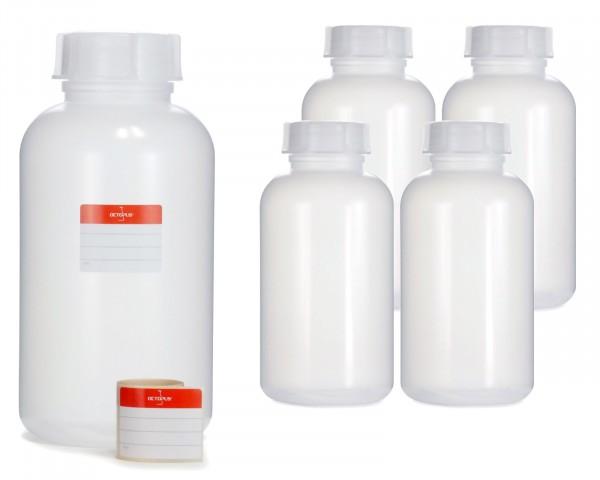 5x 2000 ml Weithalsflasche mit Schraubverschluß, Chemiekalienflasche, Laborflasche
