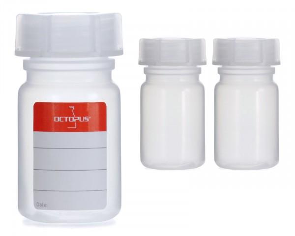 3x 50 ml Weithalsflasche mit Schraubverschluß, Chemiekalienflasche, Laborflasche