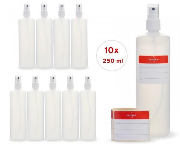 10 x 250 ml Sprühflaschen aus HDPE mit Fingerzerstäuber