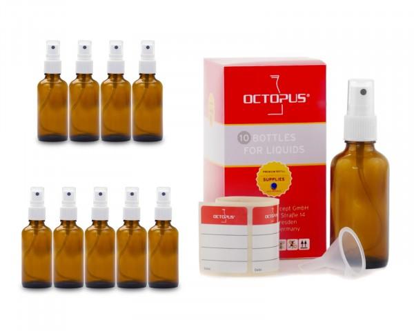 10 x 50 ml Braunglasflaschen mit Fingerzerstäuber + Trichter