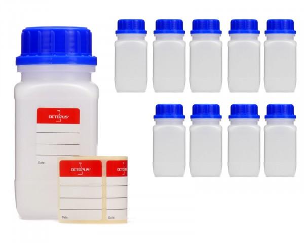 10x 250 ml Weithalsflaschen mit Schraubverschluß, Chemiekalienflasche, Laborflasche