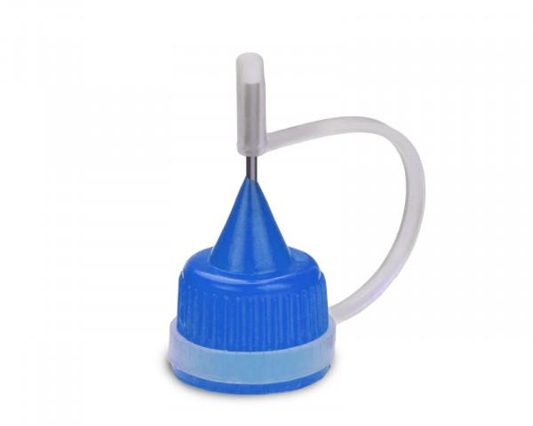 Tropfverschluss mit blauer Nadelkappe für 14 mm Gewinde