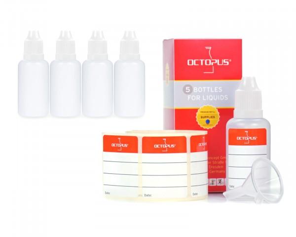 5 x 30 ml LDPE Tropfflaschen mit weißen Deckeln + Trichter