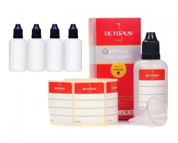 5 x 50 ml LDPE Tropfflaschen mit schwarzen Deckeln, Trichter und Etiketten