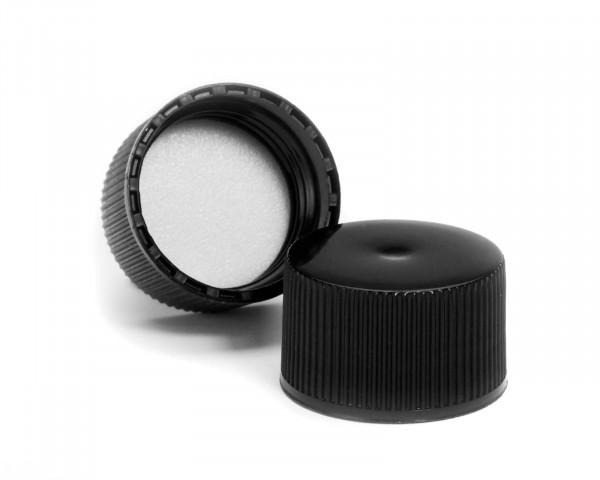 Schraubverschluss für Plastikflaschen schwarz mit Schaumstoffeinlage