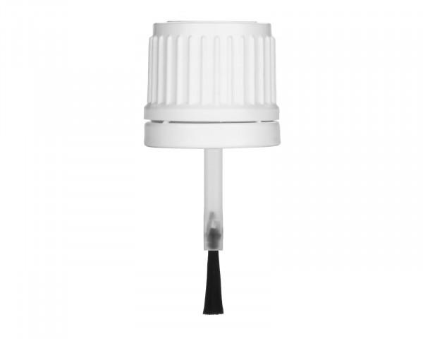 Pinselverschluss aus PE, weiß, G18, Originalitätssicherung, 44 mm Länge für 5 ml Braunglasflaschen