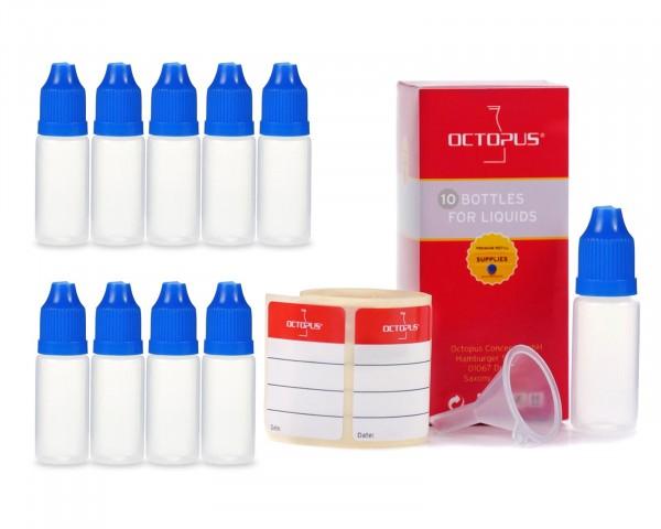 10 x 10 ml LDPE Tropfflaschen mit blauen Deckeln + Trichter