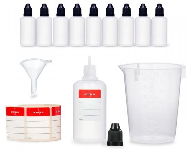 10 x 50 ml LDPE Liquidflaschen mit schwarzen Deckeln + Trichter + 150 ml Messbecher