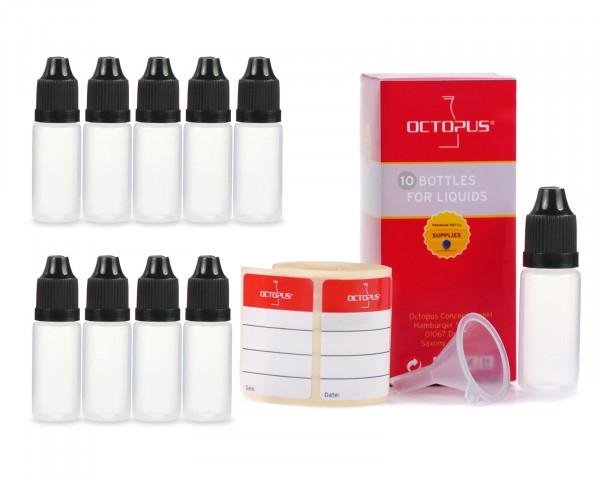 10 x 10 ml Tropf-Flaschen aus LDPE mit Mini-Trichter + schwarze Deckel