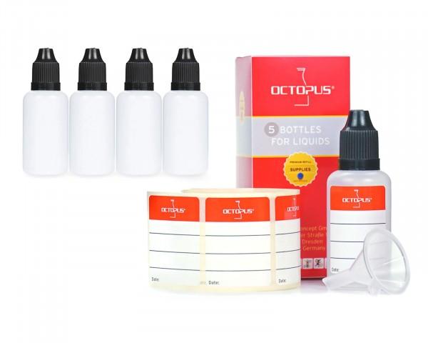 5 x 30 ml LDPE Tropfflaschen mit schwarzen Deckeln + Trichter