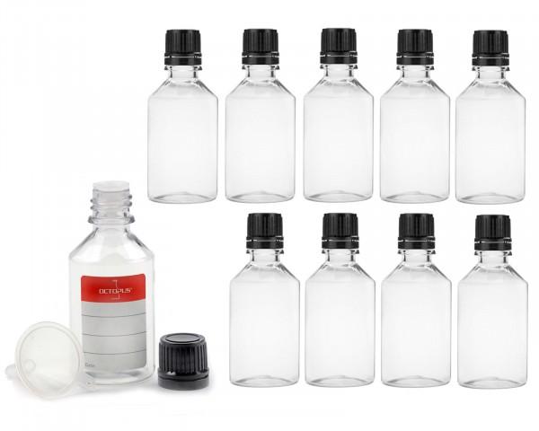 10x 50 ml PET Flaschen mit Tropfverschluss (G18) und Minitrichter