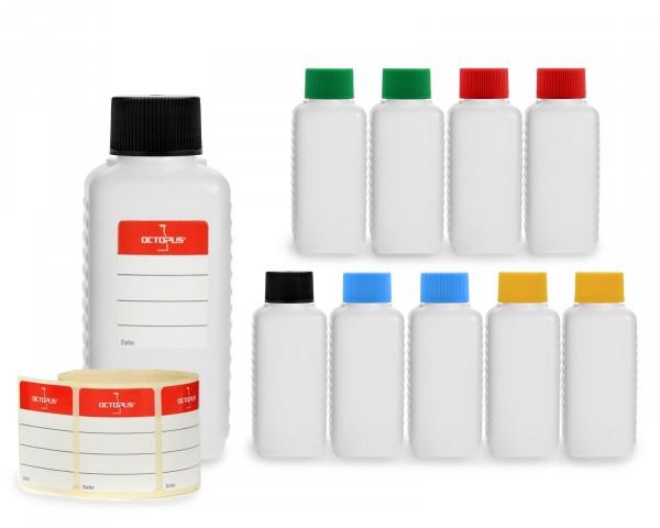 10 x 100 ml Plastikflaschen aus HDPE mit bunten Schraubverschlüssen